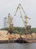 High port cranes in North Port in Moscow Royalty Free Stock Images