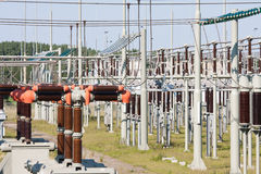 High power electricity system with transformers Stock Photo