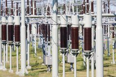 High power electricity system with transformers Stock Image
