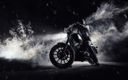 Free High Power Motorcycle Chopper With Man Rider At Night Stock Photo - 94696720
