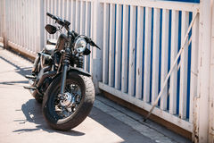 High power motorcycle Harley-Davidson parking on street Royalty Free Stock Image