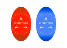 High - Power - Sign - 24. An elliptical sign with a circle, three small figures and an inscription in the center. The image has two color options. This image can Stock Photography