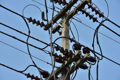 High-power tower Power transmission system. royalty free stock photo