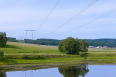 High-power transmission lines Stock Photo