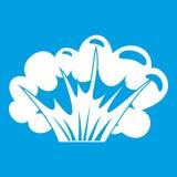 High powered explosion icon white Stock Photos