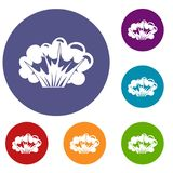 High powered explosion icons set Stock Image