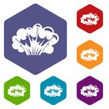 High powered explosion icons set hexagon Stock Photography