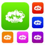 High powered explosion set color collection Royalty Free Stock Photo