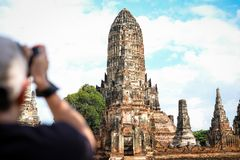 High prang in Khmer style with four smaller prangs, construction. On rectangular platform at Wat Chaiwatthanaram Ayutthaya Province, Thailand - travel concept Stock Photography