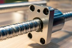 High precision ball-screw linear actuator for CNC machine. Close-up photo royalty free stock image