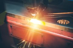 High precision CNC gas cutting metal sheet royalty free stock images