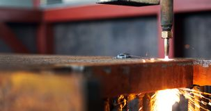 High precision CNC gas cutting metal sheet Stock Photography