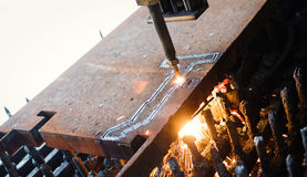 High precision CNC gas cutting metal sheet Royalty Free Stock Photos
