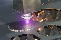 High precision CNC laser welding metal sheet Royalty Free Stock Photography