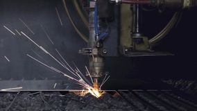 High precision CNC laser welding metal sheet, high speed cutting, laser welding, laser cutting technology, laser welding. Machine stock video footage