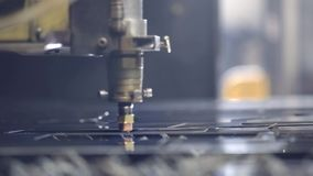 High precision CNC laser welding metal sheet, high speed cutting, laser welding, laser cutting technology, laser welding. Machine stock footage