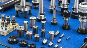 High precision drilling holder, milling chuck and collet for hig. H accuracy part manufaturing, Procision tool for automotive parts, ,mold and die production Stock Images