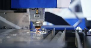 High Precision Laser Cut Electronic Robotics Weld. Metal Cut. High Precision Laser Cut Electronic Robotics Weld. Technological Process Spark Flashlight Closeup stock video