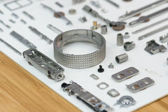 High precision steel automotive part manufacturing by CNC machin Royalty Free Stock Images