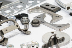 High precision steel automotive part manufacturing by CNC machin Royalty Free Stock Photo