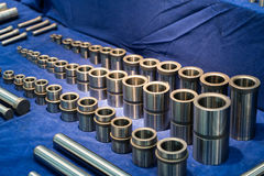 High precision steel automotive part manufacturing by CNC machin Stock Image