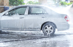 high-pressure car-washing  Stock Image
