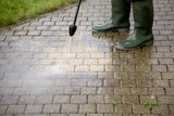 High Pressure Cleaning - 1. Outdoor floor cleaning with high pressure water jet Stock Images