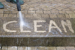 High Pressure Cleaning - 08. Outdoor floor cleaning with high pressure water jet Stock Images
