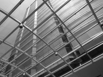 A high pressure commercial building. A BW photo from the under a Commercial building Stock Image