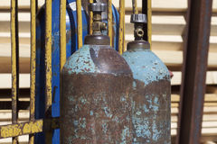 High pressure cylinders for compressed industrial gases Stock Images