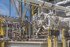 Gas turbine compressor centrifugal type at offshore oil and gas central processing platform. Royalty Free Stock Image