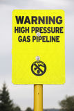 High Pressure Gas Pipeline Warning Stock Images