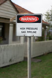 High pressure gas warning sign Stock Photo