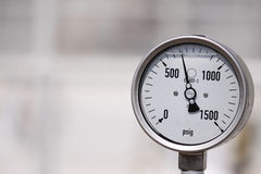 High Pressure Gauge. Displaying high pressure on a gas pipeline Royalty Free Stock Photography