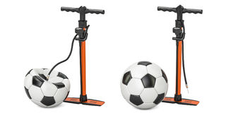 High pressure hand pumps with inflated and deflated soccer balls. 3d Royalty Free Stock Image