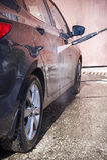 High pressure manual car washing Stock Images