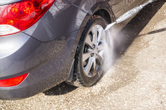High pressure manual car washing Stock Photos