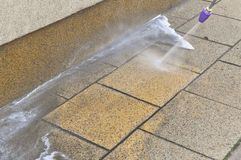 High pressure pavement cleaning Royalty Free Stock Photography