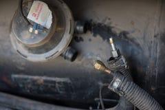 High pressure tank for lpg petrol gas. Leaking on high pressure tank for lpg petrol gas Stock Photography