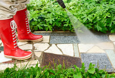 High pressure washing Stock Images