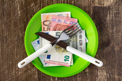 High price of food concept. With plate,money,fork and knife Stock Photos