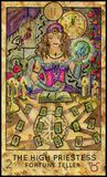High Priestess. Fortune Teller. Fantasy Creatures Tarot full deck. Major arcana. Hand drawn graphic illustration, engraved colorful painting with occult symbols Stock Photography