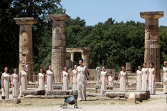 High Priestess, the Olympic flame during the Torch lighting cere. OLYMPIA , GREECE, MAY 9, 2012: High Priestess, the Olympic flame during the Torch lighting Royalty Free Stock Photography