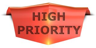 Banner high priority. High priority 3D rendered red banner , isolated on white background Royalty Free Stock Photo