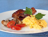 High protein breakfast. Eggs and bacon. royalty free stock photography