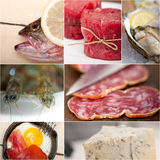 High protein food collection collage Royalty Free Stock Photo