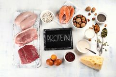 High protein foods stock photos
