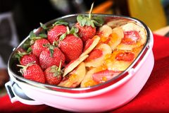Strawberry Soya Pancakes stock images