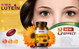 High purity lutein ad. High purity lutein contained in jar with calendula elements and model face, 3d illustration Stock Photography