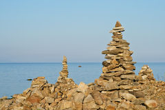 High pyramid from a stone on the bank of Baikal Stock Images